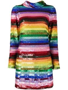 радужное платье-мини в пайетки Ashish