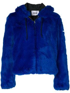 куртка из искусственного меха с капюшоном  MSGM