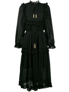 полупрозрачное платье миди с длинными рукавами  Zimmermann