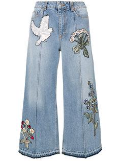 джинсы с вышивкой  Alexander McQueen