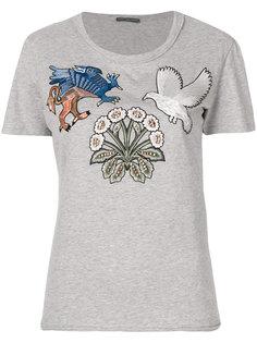 футболка с аппликацией животных и растений Alexander McQueen