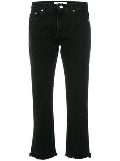 укороченные джинсы с бахромой  MSGM