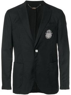 пиджак с заплаткой в виде эмблемы Billionaire