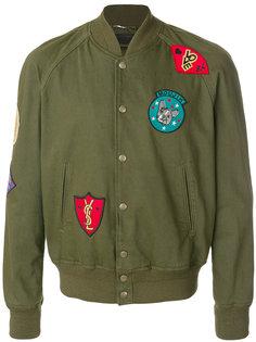 куртка-бомбер с заплатками Saint Laurent