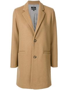 прямое пальто на пуговицах  A.P.C.