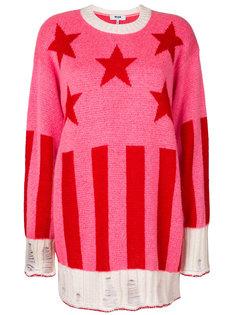 пуловер в рубчик со звездами  MSGM