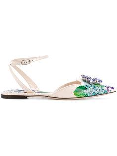 слиперы с цветочным украшением Bellucci  Dolce & Gabbana