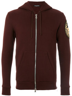 gold thread patch hoodie Balmain