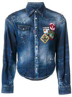 джинсовая рубашка с нашивками  Dsquared2