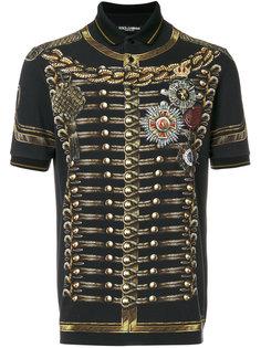 рубашка-поло с принтом офицерского мундира Dolce & Gabbana