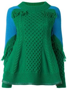 вязаный свитер с бахромой Sacai