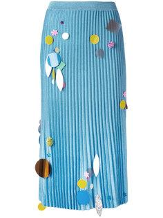 вязаная плиссированная юбка с пайетками Christopher Kane