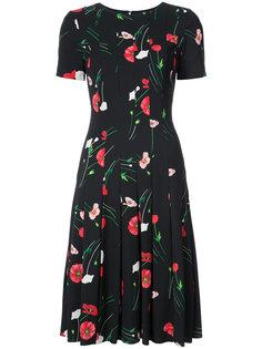 платье миди с цветочным принтом Oscar de la Renta