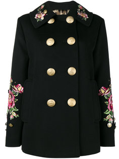 пальто в стиле милитари с вышитыми розами Dolce & Gabbana