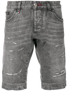 джинсовые шорты с потертой отделкой Philipp Plein