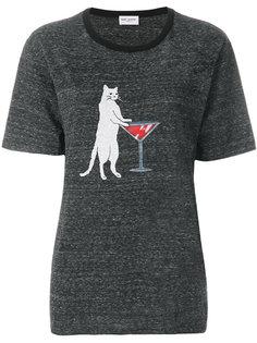 футболка с котом  Saint Laurent