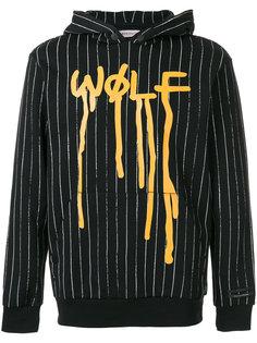 толстовка Wolf в полоску с капюшоном Palm Angels