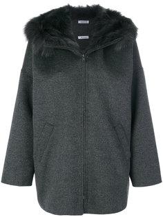 меховое пальто с капюшоном P.A.R.O.S.H.