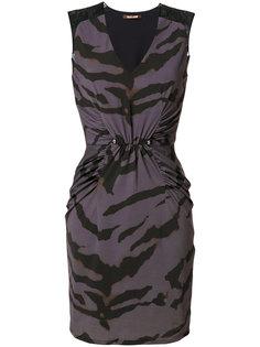 платье с принтом в виде полосок зебры  Roberto Cavalli
