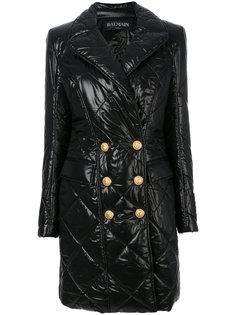 двубортное стеганое пальто  Balmain