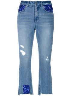 укороченные состаренные джинсы  Sjyp