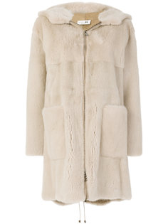 hooded mid fur coat Manzoni 24