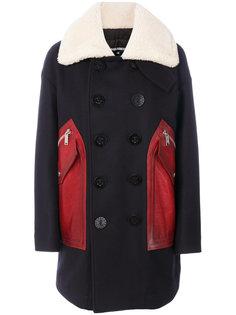 пальто с кожаными панелями Dsquared2