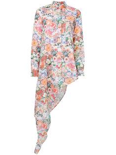 рубашка с драпировкой и цветочным принтом  Mm6 Maison Margiela