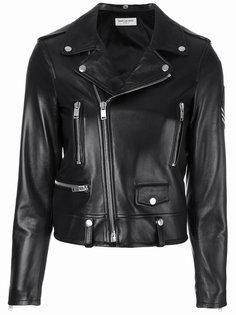мотоциклетная куртка с заплаткой Saint Laurent