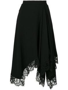 асимметричная юбка с кружевной оторочкой Givenchy
