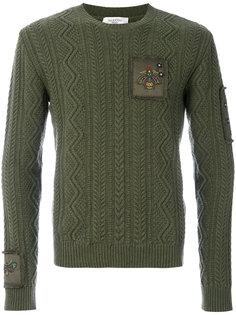 трикотажный свитер с вышивкой насекомых Valentino