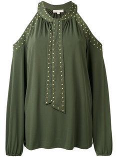 блузка с завязкой на шее и вырезами на плечах Michael Kors