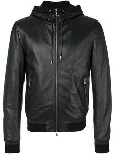 кожаная куртка с капюшоном Dolce & Gabbana