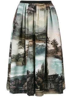 плиссированная юбка-миди с принтом пейзажа Antonio Marras