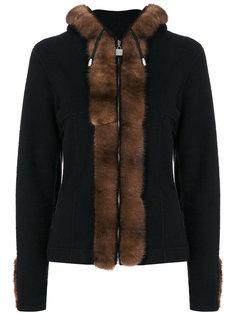куртка с капюшоном и норковой отделкой Chanel Vintage
