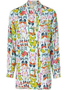 рубашка с принтом бабочек  Versace Vintage