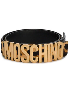 леопардовый ремень с логотипом Moschino