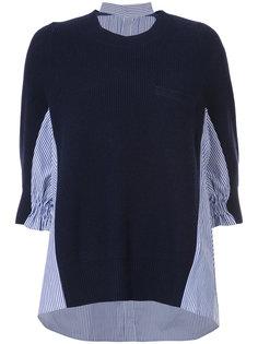 свитер с рубашечной вставкой Sacai