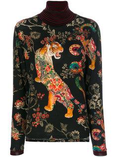 джемпер с цветочным принтом и тигром Etro