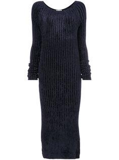ребристое платье с длинными рукавами Helmut Lang