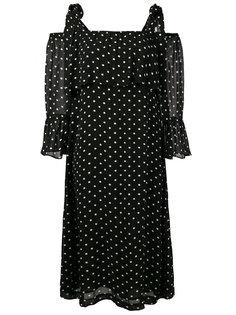 платье с открытыми плечами в горошек Monette Ganni