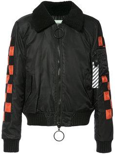 куртка-бомбер  с отделкой в клетку Off-White