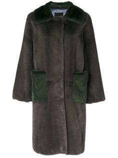 свободное двухцветное пальто  Liska