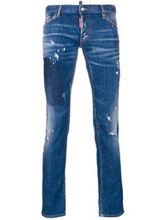 узкие джинсы с высветленными деталями Dsquared2