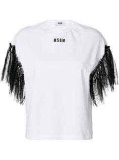 футболка с кружевными рукавами MSGM