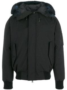 пальто с капюшоном и мехом енота  Kenzo