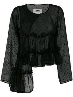асимметричная блузка с оборкой  Mm6 Maison Margiela