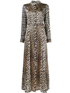 длинное платье из шелка с леопардовым рисунком Ganni