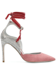 туфли со стразами и завязками вокруг щиколотки René Caovilla