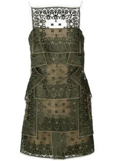 многослойное платье с вышивкой  Christian Dior Vintage